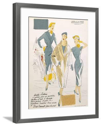 Sketches and Fabric Swatches, from L'Oficiel de La Couleur Des Industries de La Mode--Framed Art Print