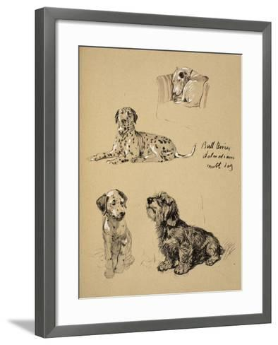 Bull Terrier, Dalmatians and Mutt Dog, 1930, Just Among Friends, Aldin, Cecil Charles Windsor-Cecil Aldin-Framed Art Print