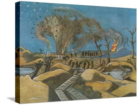 Shelling the Duckboards, from British Artists at the Front, Continuation of the Western Front, 1918-Paul Nash-Stretched Canvas Print