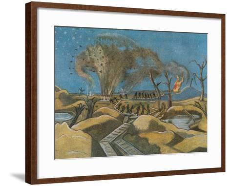 Shelling the Duckboards, from British Artists at the Front, Continuation of the Western Front, 1918-Paul Nash-Framed Art Print
