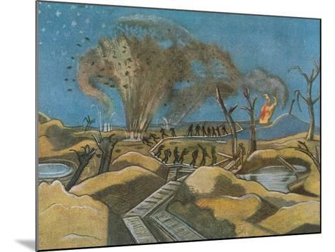 Shelling the Duckboards, from British Artists at the Front, Continuation of the Western Front, 1918-Paul Nash-Mounted Giclee Print