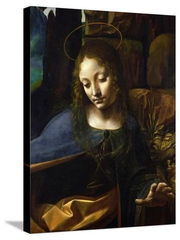 Detail of the Head of the Virgin, from the Virgin of the Rocks-Leonardo da Vinci-Stretched Canvas Print