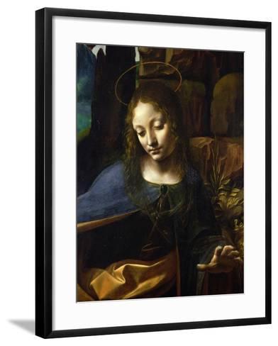 Detail of the Head of the Virgin, from the Virgin of the Rocks-Leonardo da Vinci-Framed Art Print