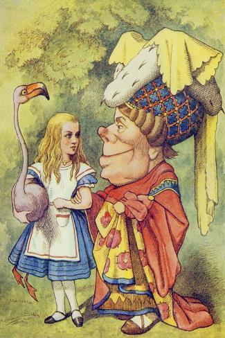 Alice with the Duchess, Illustration from Alice in Wonderland by Lewis Carroll-John Tenniel-Stretched Canvas Print