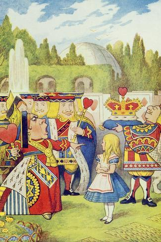 Queen Has Come! and Isn't She Angry, Illustration from Alice in Wonderland by Lewis Carroll-John Tenniel-Stretched Canvas Print