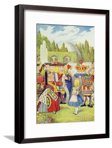 Queen Has Come! and Isn't She Angry, Illustration from Alice in Wonderland by Lewis Carroll-John Tenniel-Framed Art Print