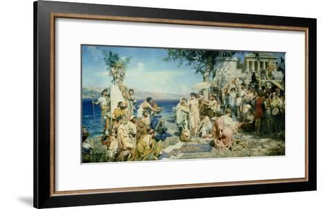 Phryne at the Festival of Poseidon in Eleusin-Henryk Siemieradzki-Framed Art Print