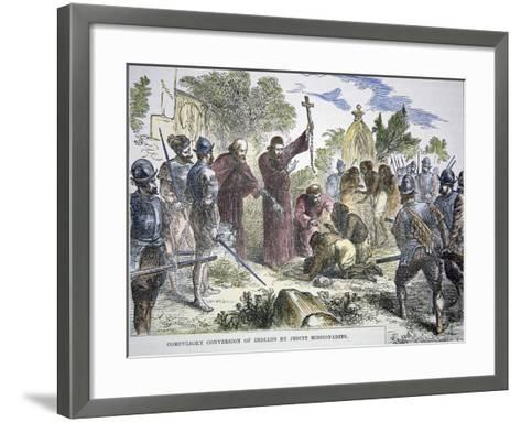 Compulsory Conversion of Native Americans to Christianity by Spanish Jesuit Missionaries, c.1500--Framed Art Print