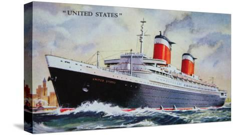 Ss United States Maiden Voyage in 1952-American School-Stretched Canvas Print