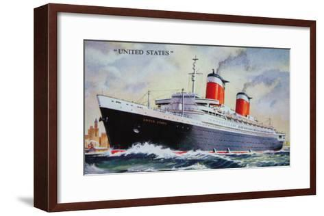 Ss United States Maiden Voyage in 1952-American School-Framed Art Print