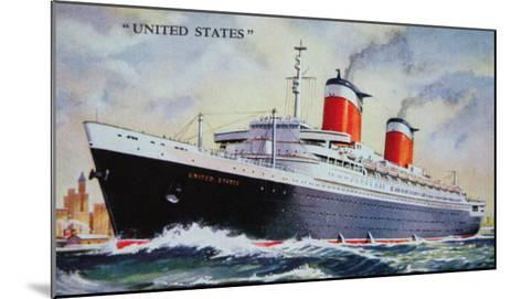 Ss United States Maiden Voyage in 1952-American School-Mounted Giclee Print