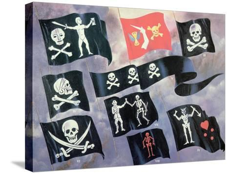 Various Flags Used by Famous Pirates--Stretched Canvas Print