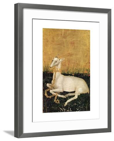 White Hart, from the Wilton Diptych c.1395-99-Master of the Wilton Diptych-Framed Art Print