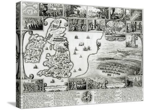 Map of Civil War England and a View of Prague, 1632-Wenceslaus Hollar-Stretched Canvas Print