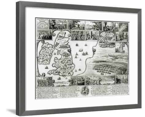 Map of Civil War England and a View of Prague, 1632-Wenceslaus Hollar-Framed Art Print
