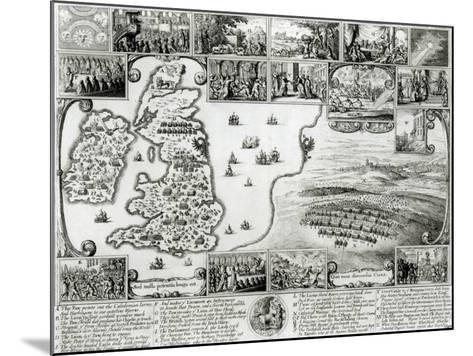 Map of Civil War England and a View of Prague, 1632-Wenceslaus Hollar-Mounted Giclee Print