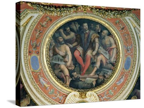 Cosimo I and His Artists, from the Sala Di Cosimo I-Giorgio Vasari-Stretched Canvas Print