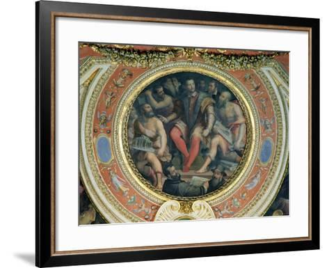 Cosimo I and His Artists, from the Sala Di Cosimo I-Giorgio Vasari-Framed Art Print