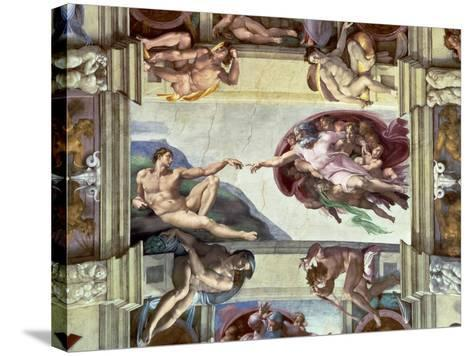 Sistine Chapel Ceiling, Creation of Adam, 1510-Michelangelo Buonarroti-Stretched Canvas Print