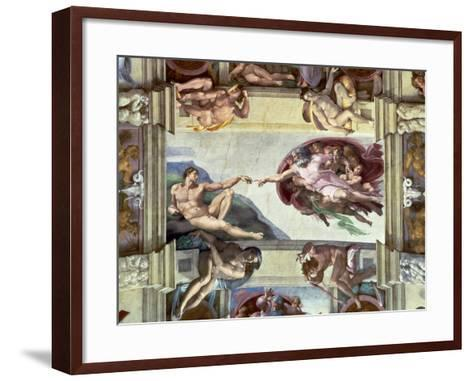 Sistine Chapel Ceiling, Creation of Adam, 1510-Michelangelo Buonarroti-Framed Art Print