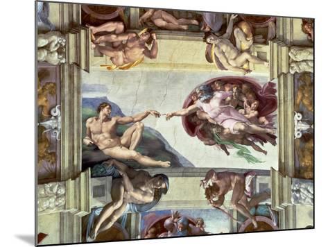 Sistine Chapel Ceiling, Creation of Adam, 1510-Michelangelo Buonarroti-Mounted Giclee Print