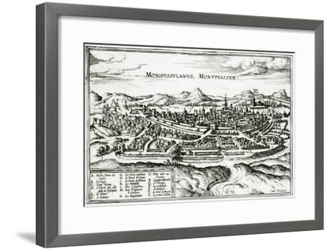 Map of Montpellier, from Civitates Orbis Terrarum by Georg Braun-Joris Hoefnagel-Framed Art Print