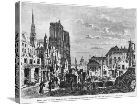 Paris, Demolition of a Part of Cite to Extend the Buildings of New Hotel-Dieu, Engraved Barbant-Felix Thorigny-Stretched Canvas Print