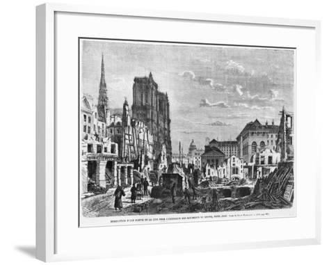 Paris, Demolition of a Part of Cite to Extend the Buildings of New Hotel-Dieu, Engraved Barbant-Felix Thorigny-Framed Art Print