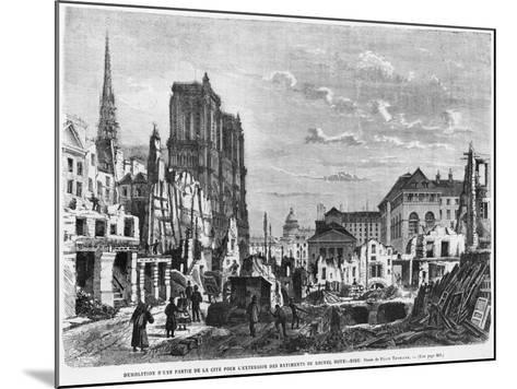 Paris, Demolition of a Part of Cite to Extend the Buildings of New Hotel-Dieu, Engraved Barbant-Felix Thorigny-Mounted Giclee Print