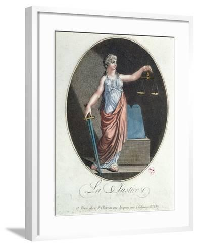 Allegory of Justice, Published by J. Chereau, Paris, 1792--Framed Art Print