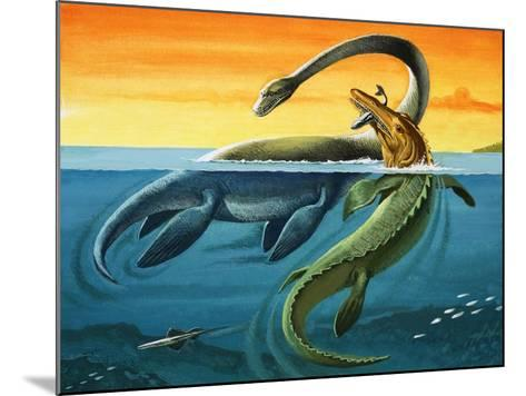 Prehistoric Creatures in the Ocean--Mounted Giclee Print