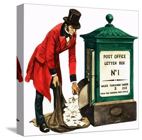 Communication One Hundred Years Ago. a Victorian Postman and Post Box-Peter Jackson-Stretched Canvas Print