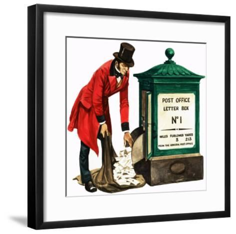 Communication One Hundred Years Ago. a Victorian Postman and Post Box-Peter Jackson-Framed Art Print