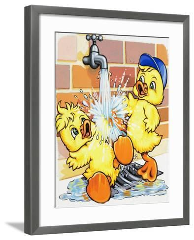 Ducklings Discover How to Use a Tap--Framed Art Print