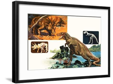 Dinosaurs and Skeletons. Stegasaurus and Tyranosaurus--Framed Art Print