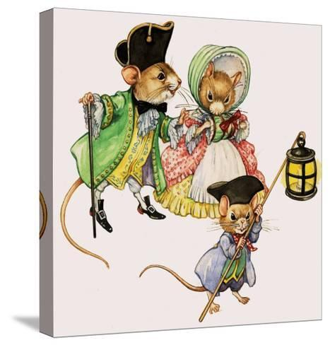 Well-Dressed Victorian Mice Taking a Stroll--Stretched Canvas Print