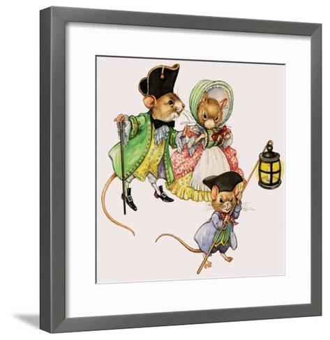 Well-Dressed Victorian Mice Taking a Stroll--Framed Art Print