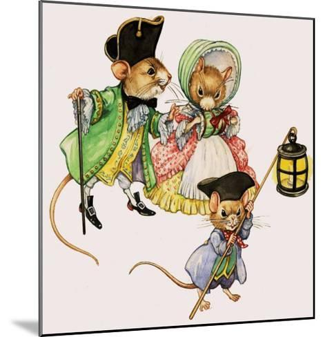 Well-Dressed Victorian Mice Taking a Stroll--Mounted Giclee Print