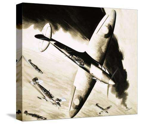 Unidentified Spitfire in Dogfight with German Fighters--Stretched Canvas Print