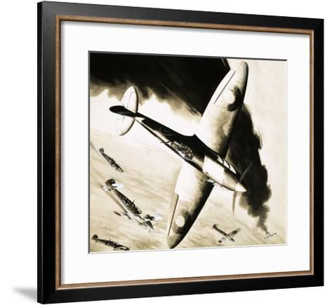 Unidentified Spitfire in Dogfight with German Fighters--Framed Art Print