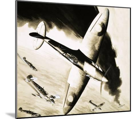 Unidentified Spitfire in Dogfight with German Fighters--Mounted Giclee Print