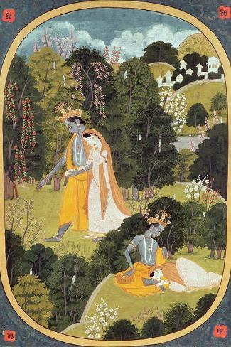 Radha and Krishna Walking in a Grove, Kangra, Himachal Pradesh, 1820-25--Stretched Canvas Print