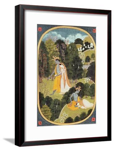 Radha and Krishna Walking in a Grove, Kangra, Himachal Pradesh, 1820-25--Framed Art Print