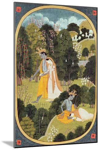 Radha and Krishna Walking in a Grove, Kangra, Himachal Pradesh, 1820-25--Mounted Giclee Print
