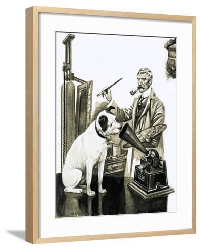Artist Painting the Dog Listening at a Gramaphone-Peter Jackson-Framed Art Print