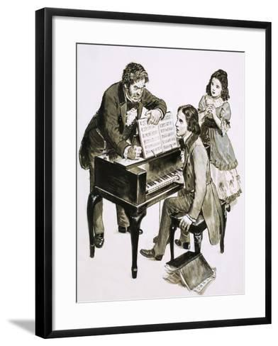 Music Teacher Friedrich Wieck Shouts at Robert Schumann While His Daughter, Clara Wieck, Looks On--Framed Art Print