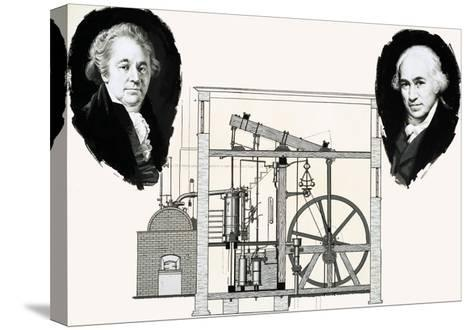 Matthew Boulton and James Watt with One of the Patented Steam Engines--Stretched Canvas Print