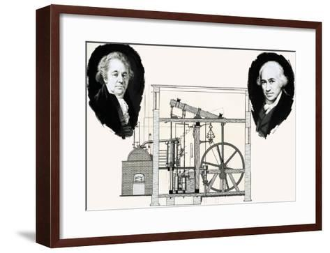 Matthew Boulton and James Watt with One of the Patented Steam Engines--Framed Art Print