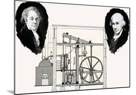 Matthew Boulton and James Watt with One of the Patented Steam Engines--Mounted Giclee Print