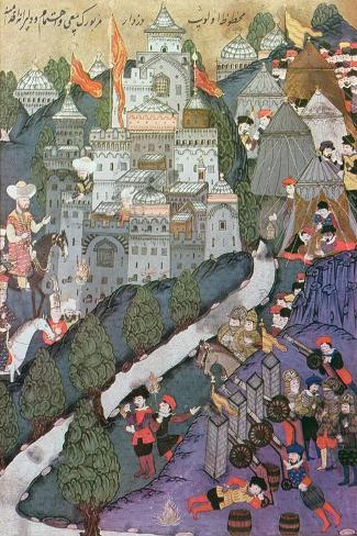 Battle of Nicopolis, 1396, Facsimile of a Miniature Conserved in the Topkapi Museum in Istanbul--Stretched Canvas Print